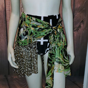 Other - Leopard Tropical Print Ruffle Sarong Cover Up